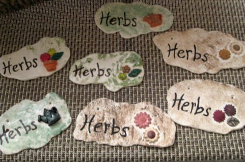 Polymer clay herb sign